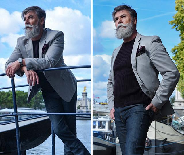 Hombre de 60 años se hace modelo, ¡con dejarse la barba!