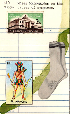mexican lottery card El Apache native american indiana socks south african postage stamp library card Moses Maimonides on the causes of symptoms Dada Fluxus mail art collage