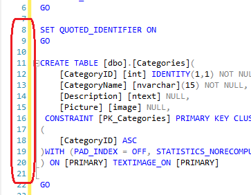SQL Server T-SQL editor with line numbers