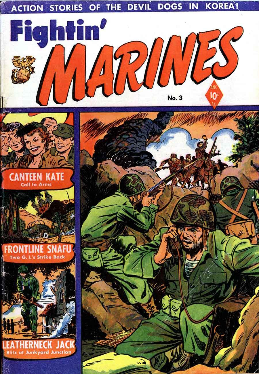 Matt Baker golden age 1950s st john war comic book cover art - Fightin' Marines #3