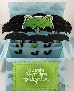 Frog Umbrella Card by August Guest Designer Kara Pogreba | Umbrella Pals Stamp Set by Newton's Nook Designs #newtonsnook #handmade