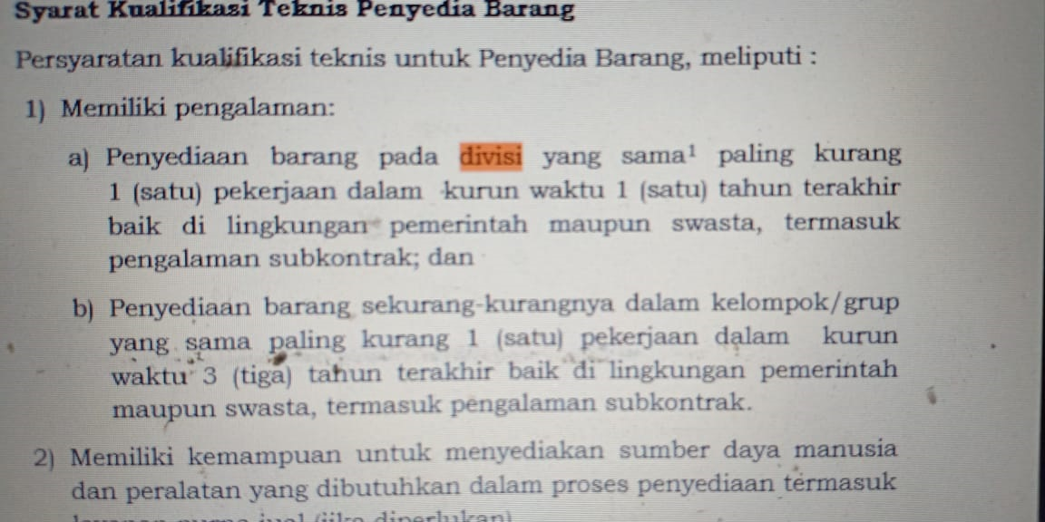 Pengadaan Barang Jasa Pemerintah Oleh Mudjisantosa Istilah Divisi