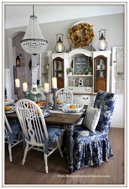 Fall Dining Room-French Country-French Farmhouse-Farmhouse Style-Cottage Style-Mia Chandelier-Pottery Barn-Waverley Ballad Bouquet-From My Front Porch To Yours