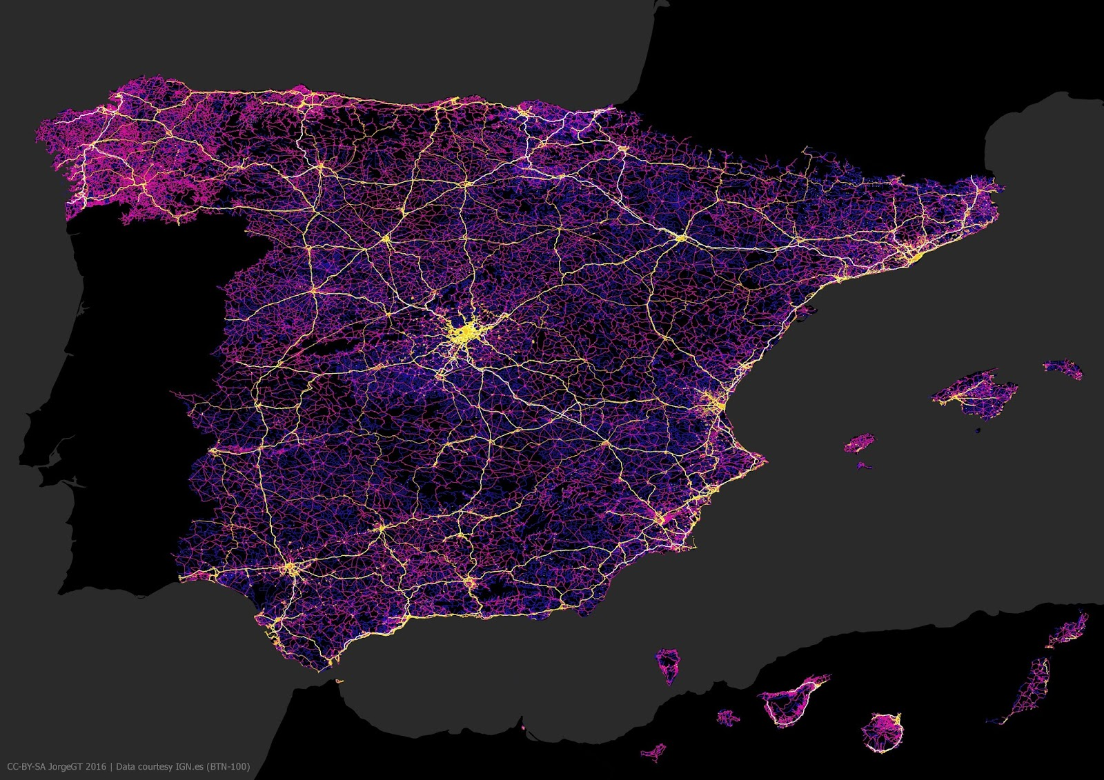 Spain mapped only by roads and highways