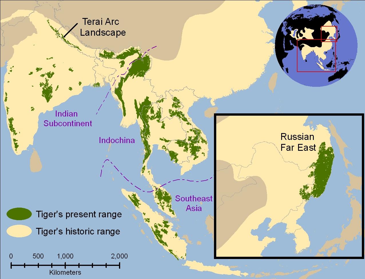 Historical range of tiger (1850) vs the current range (2006) of tiger