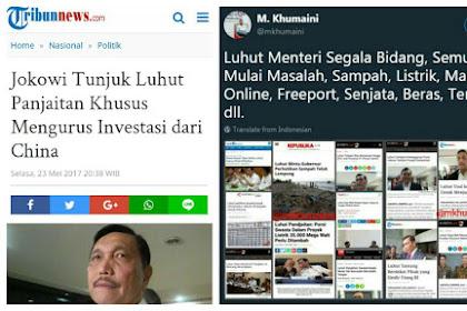 Jokowi Tunjuk Luhut Jadi Menteri Pengurus Investasi China: Netizen: Hebat, Menteri Segala Bidang