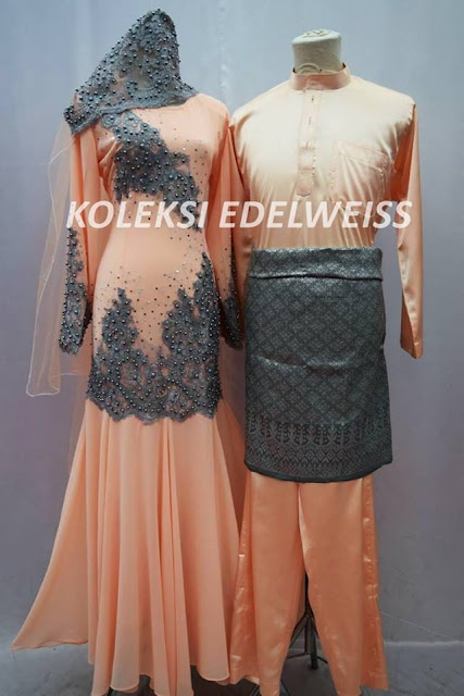 Set Dress Nikah Peach Grey  Sedondon Muslimah  2016