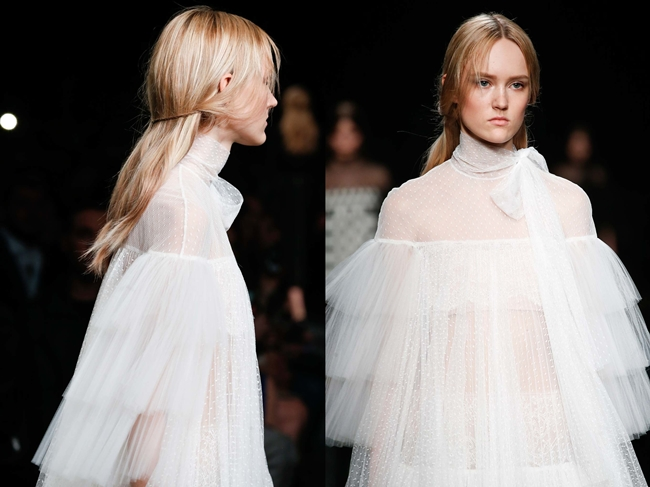 Valentino 2015 AW Little White Tulle Dress on Runway