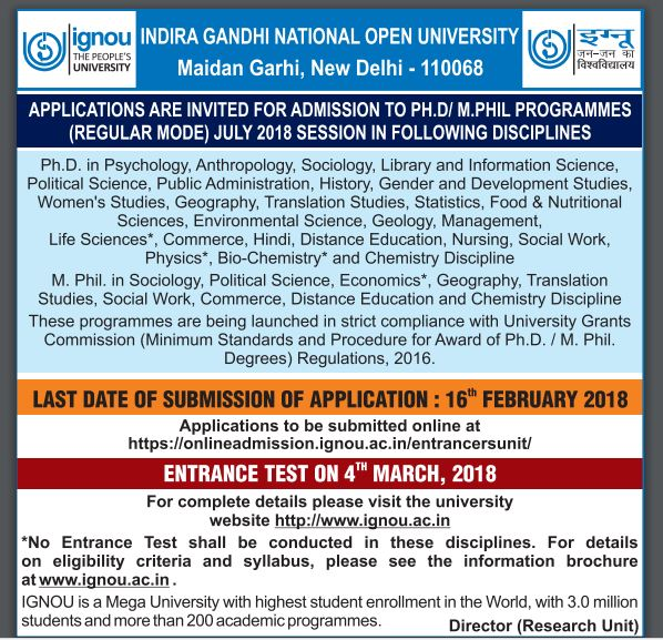 ignou msw admission 2018
