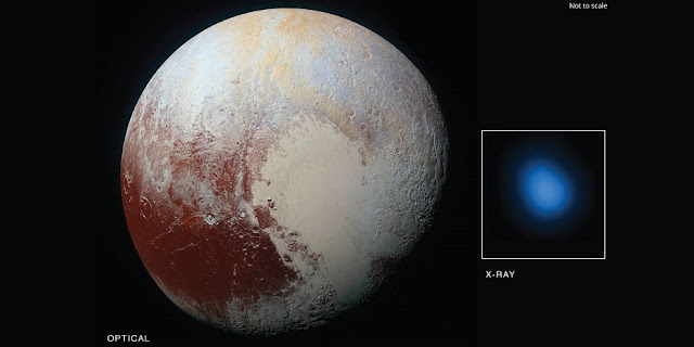The first detection of Pluto in X-rays has been made using NASA's Chandra X-ray Observatory in conjunction with observations from NASA's New Horizon spacecraft. Credits: X-ray: NASA/CXC/JHUAPL/R.McNutt et al; Optical: NASA/JHUAPL