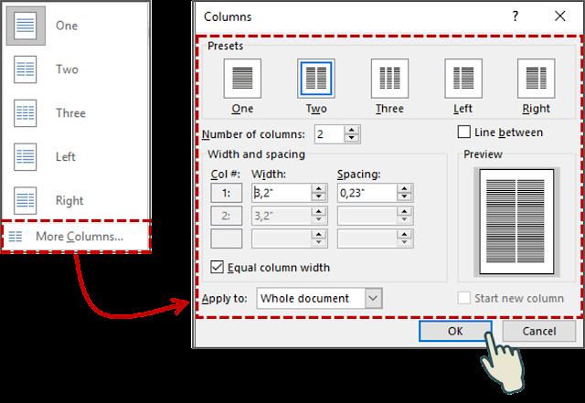 Cara 2 Cara Memformat Teks yang dipilih Menjadi Kolom