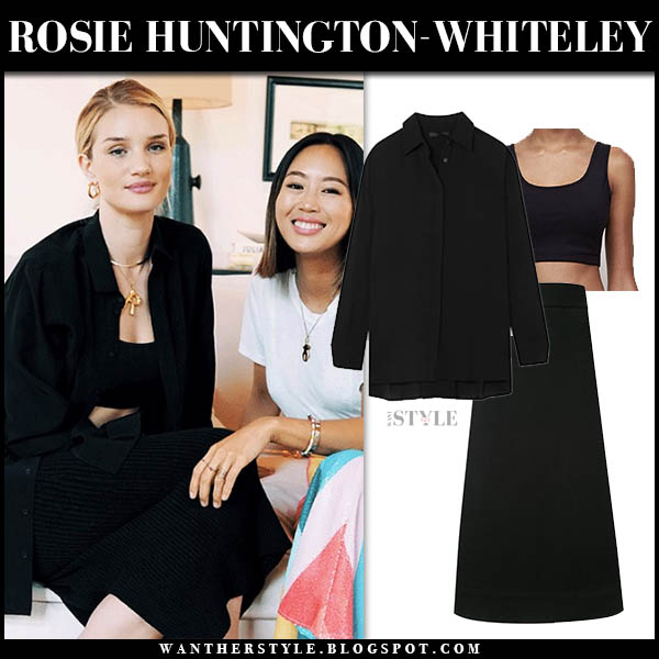 Rosie Huntington-Whiteley in black crop top, black the row shirt and black georgia alice midi skirt model style january 2019