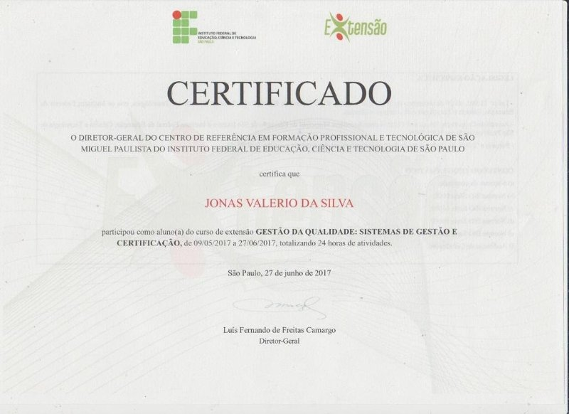 Certificado Ifsp