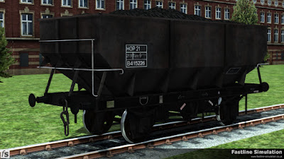 Fastline Simulation: A work worn rebodied dia. 1/146 21T hopper in unfitted grey livery with HOP 21 code inside a fully boxed data panel.
