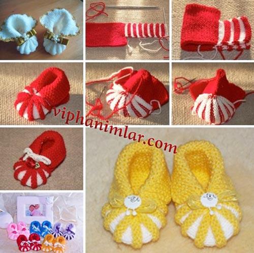 ayakkabı şeklinde kız bebek patik modeli
