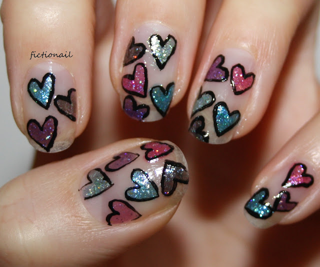 Heart Pattern Nails Valentines Negative Space Nail Art