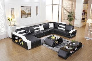 Sala con muebles cuero negro
