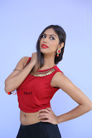 Telugu Actress Nishi Ganda Stills in Red Blouse and Black Skirt at Tik Tak Telugu Movie Audio Launch .COM 0053.JPG