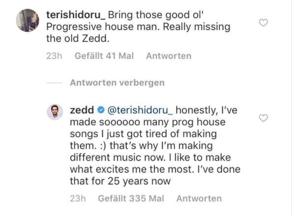 Zedd留言回覆粉絲不會回到原有的曲風