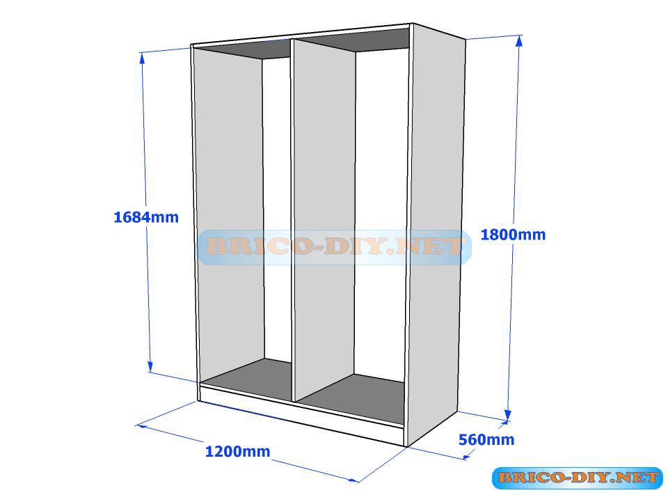 Plano de ropero guardarropa de melamina blanco con gavetas for Muebles de carton pdf