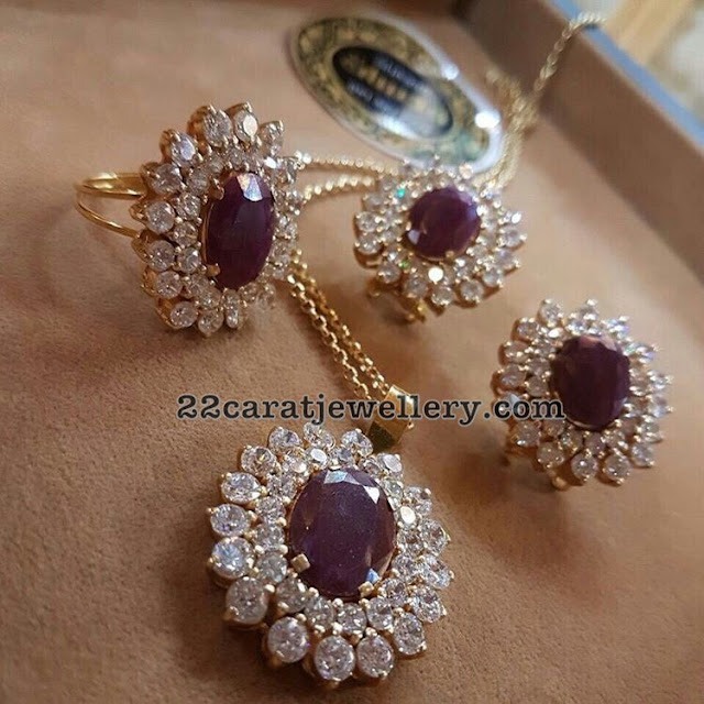 Diamond Ruby Earrings Locket and Ring