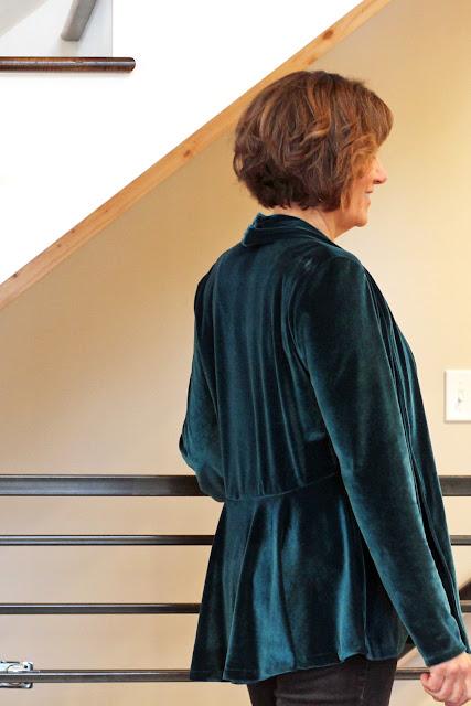 Style Maker Fabrics' Stretch Velvet for a cardigan using McCall's 6996 - back peplum