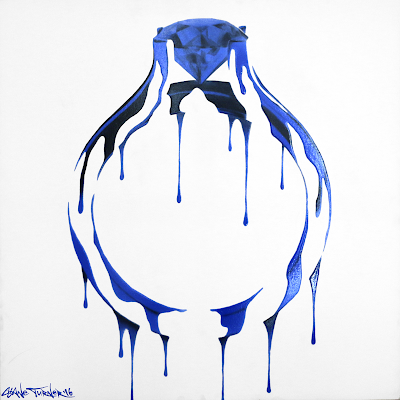 Painting of an engagement ring / wedding band made out of dripping royal blue painting coming from the sapphire gemstone.