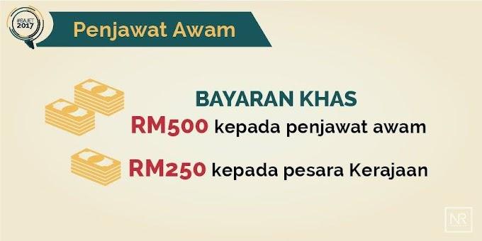 Bajet 2017 Untuk Penjawat Awam : Bonus RM500 Bagi Penjawat Awam Dan RM250 Bagi Pesara Dibayar Januari 2017