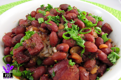 Creole Red Beans cooked in a pressure cooker, and served over rice