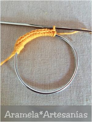 como forrar aro para atrapasueños en crochet