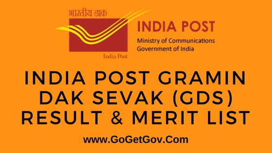 India Post Gramin Dak Sevak (GDS) Result & Merit List