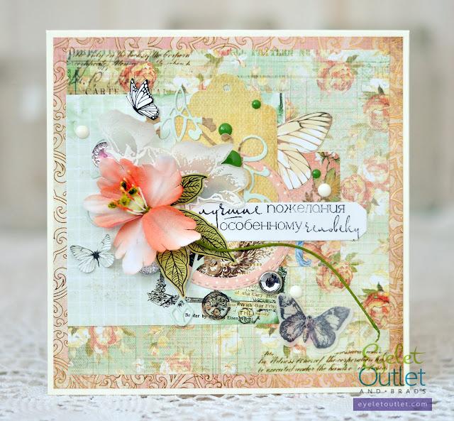 best wishes card | Eyelet Outlet @akonitt #card #cards #by_marina_gridasova #eyeletoutlet #enamels #enameldots #brads #kaisercraft #lesiazgharda #stamps #clearstamps #cardmaking #скрапбукингкоролев #открытка
