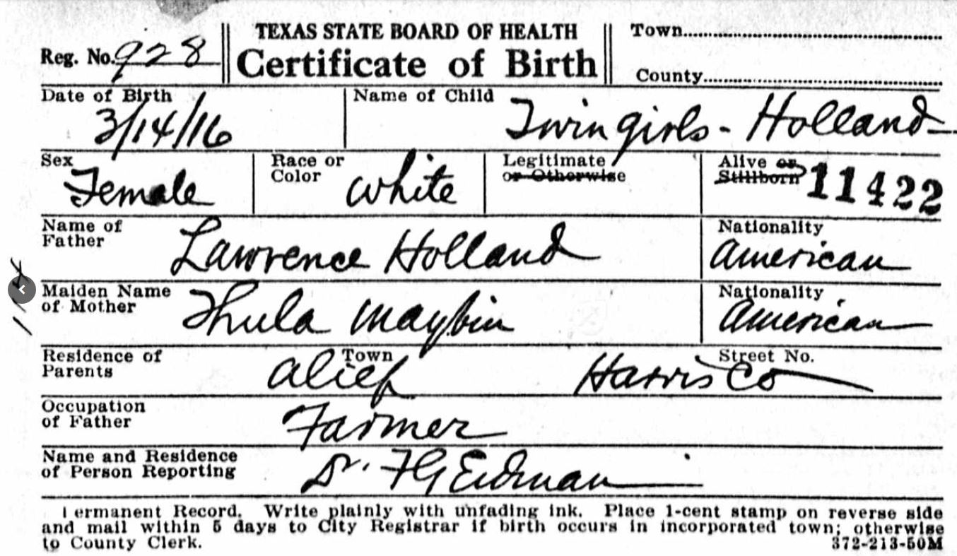 Living in the past 52 ancestors lawrence lafayette holland 95 i dont find evidence that he served but lawrence registered for the world war i draft on september 12 1918 in harris county texas aiddatafo Images
