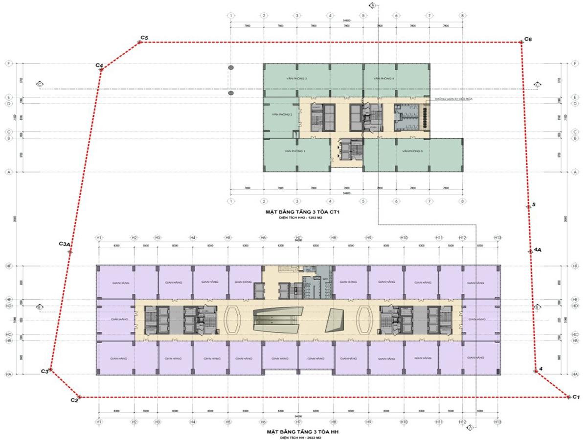 Mặt bằng tầng 3 tòa HH dự án nhà ở xã hội bộ công an