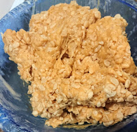 rice cereal added to the marshmallow mixture