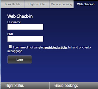 Web Checking at Airline's website