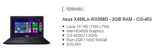 harga laptop asus 4 jutaan 2015