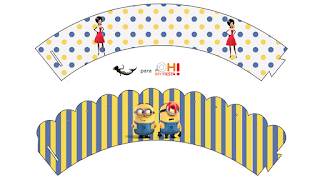 Minions, the Movie Free Printable Cupcake Wrappers.