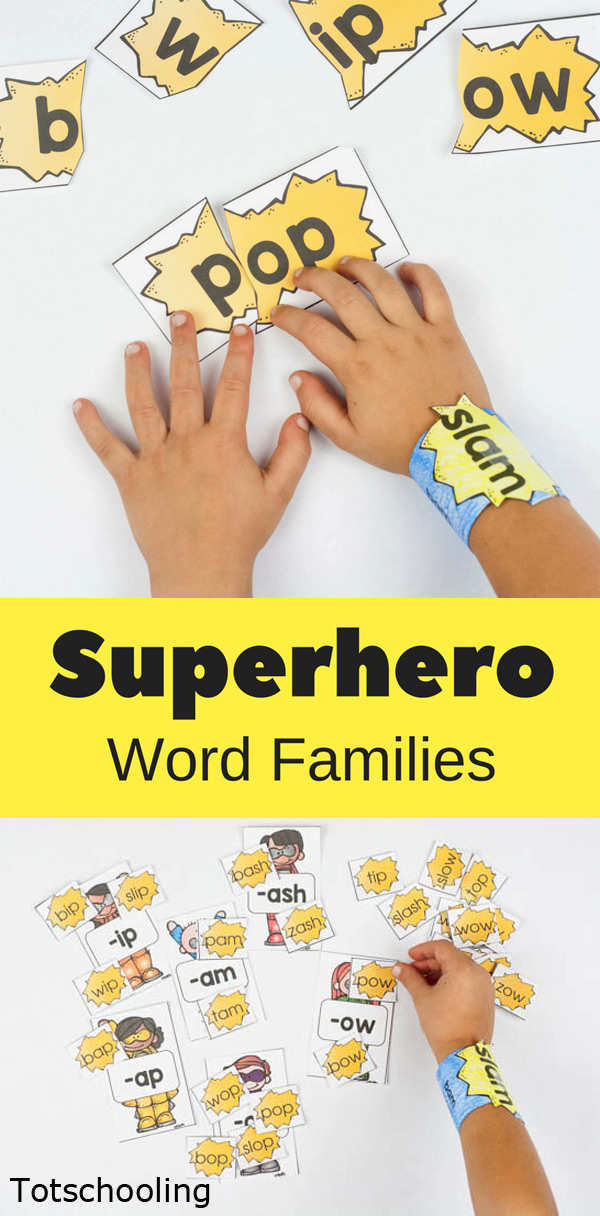 FREE printable Superhero themed word family activities for kids who are learning to read. Includes puzzles, recording sheet, cuffs/arm bands, and word family sorting. Fun for kindergarten and first grade.