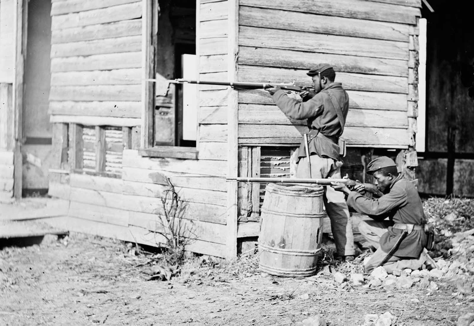 A picket station of Colored troops near Dutch Gap canal, Dutch Gap, Virginia, in November of 1864.