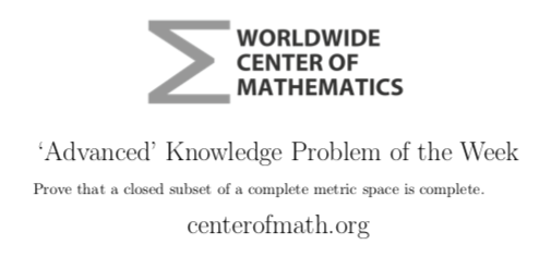 The Center Of Math Blog Advanced Knowledge Problem Of The Week 6