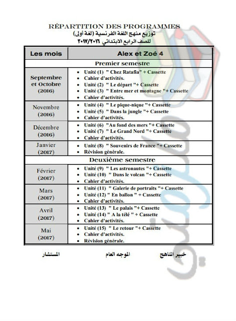 توزيع منهج اللغة الفرنسية للصف الرابع الإبتدائي 2017