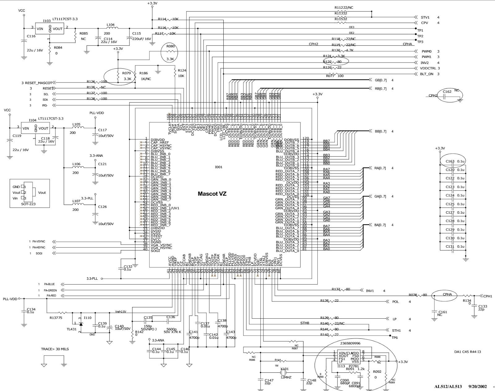 aoc al512  u2013 aoc al513  u2013 15 inch tft lcd monitor  u2013 circuit