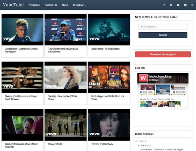 VubeTube Video Blogger Template