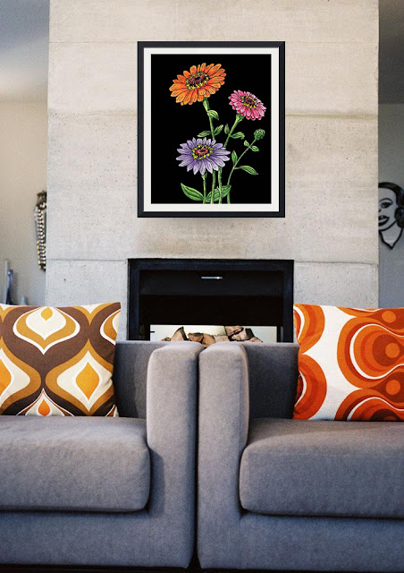 Zinnia Botanical Watercolor Flower painting in interior decor