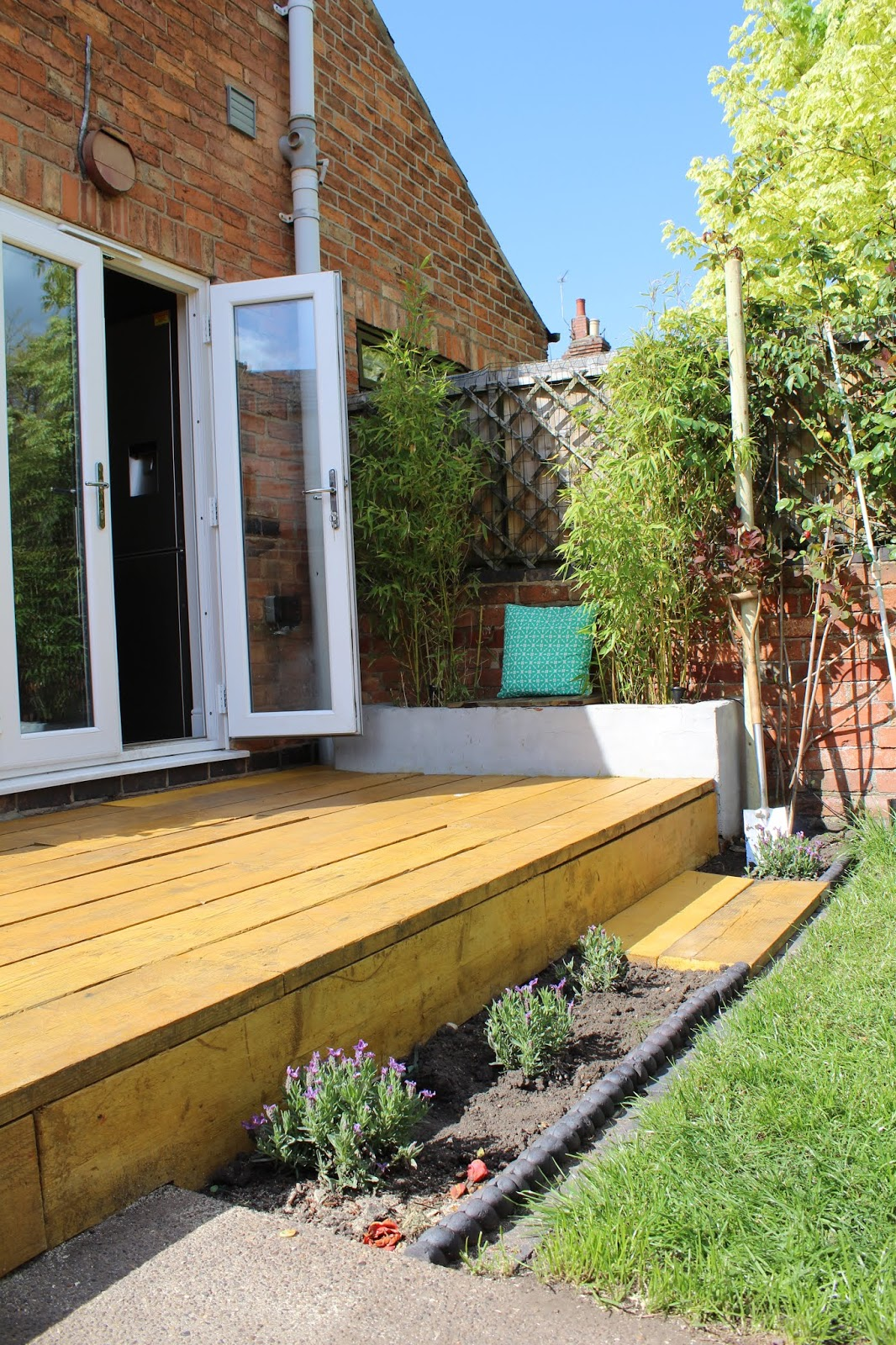 Scaffold Decking with Flower bed in front