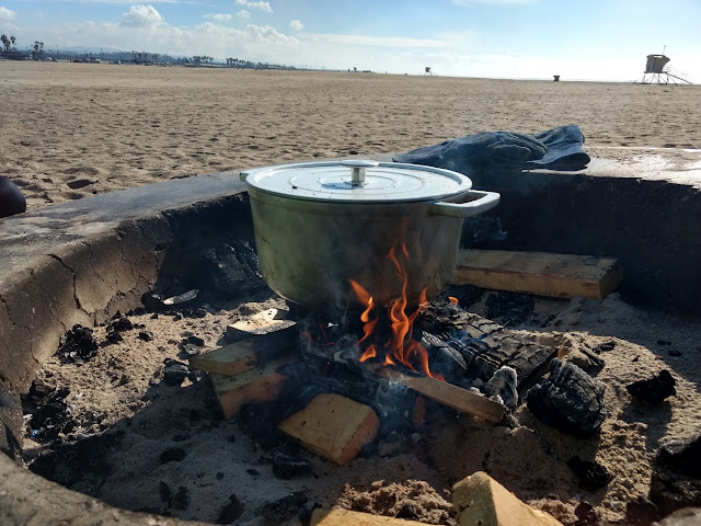 dutch oven on beach fire pit