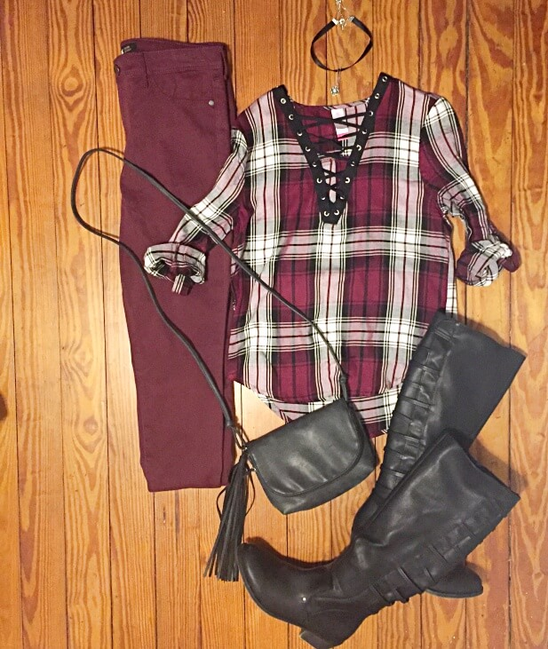 burgundy plaid outfit of the day