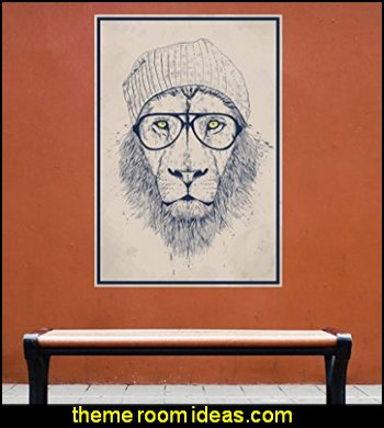Hipster Lion Wall Decal Sticker Animal Art  Hipster decorating style - hipster decor - Hipster wall art - Hipster room decor - Hipster bedding - urban decor - retro decor - vintage cool decor - Strampunk - hipster bedroom ideas - Hipster home decor -   Hipster gifts - Marquee signs - hipster style quirky fun decor - hipster bedroom decorating ideas
