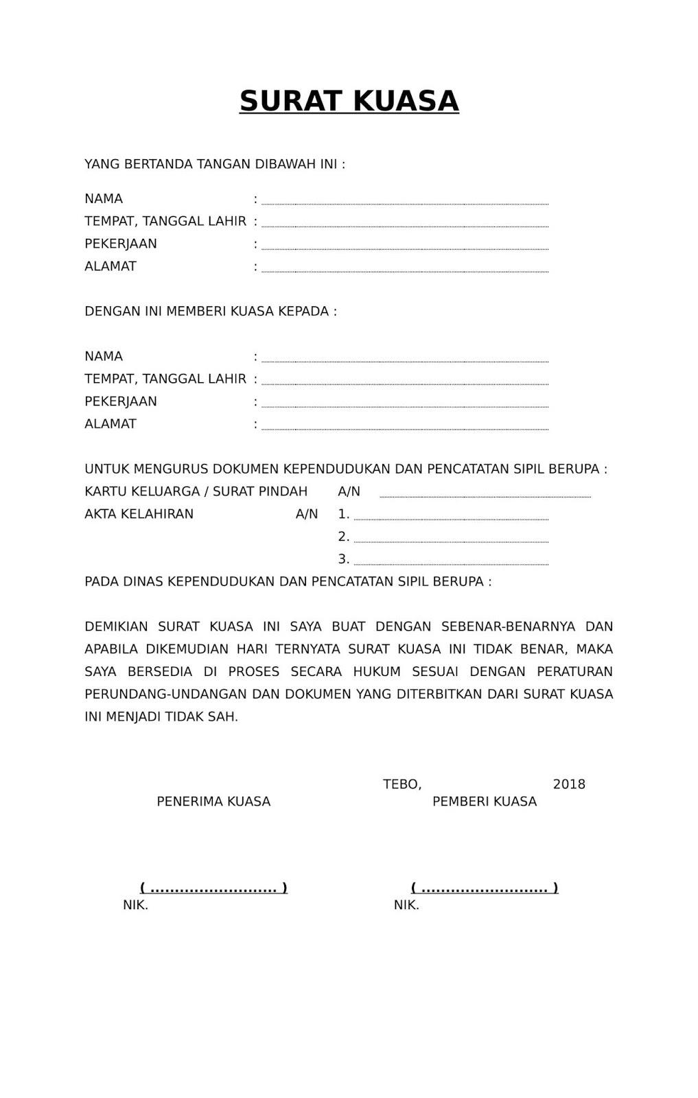 Akta Download Contoh Surat Kuasa Pengurusan Dokumen